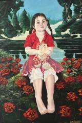 Meisje op rozenbed